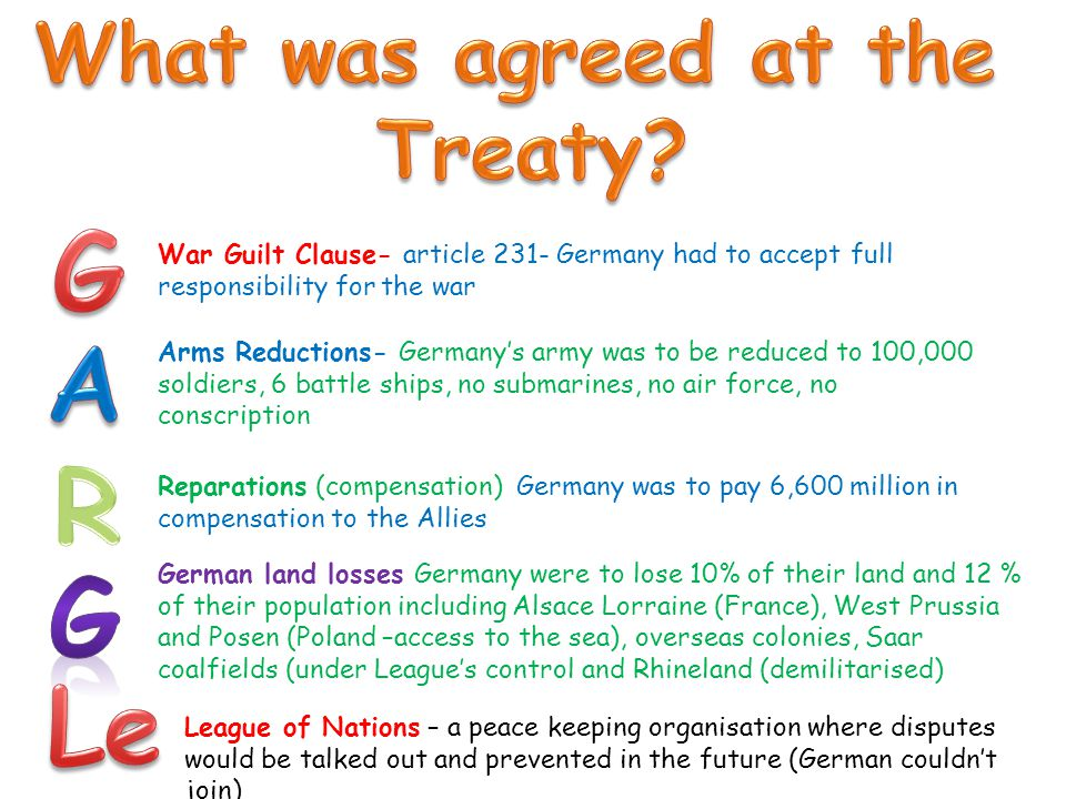 War Guilt Clause- article 231- Germany had to accept full responsibility for the war Arms Reductions- Germany's army was to be reduced to 100,000 sold