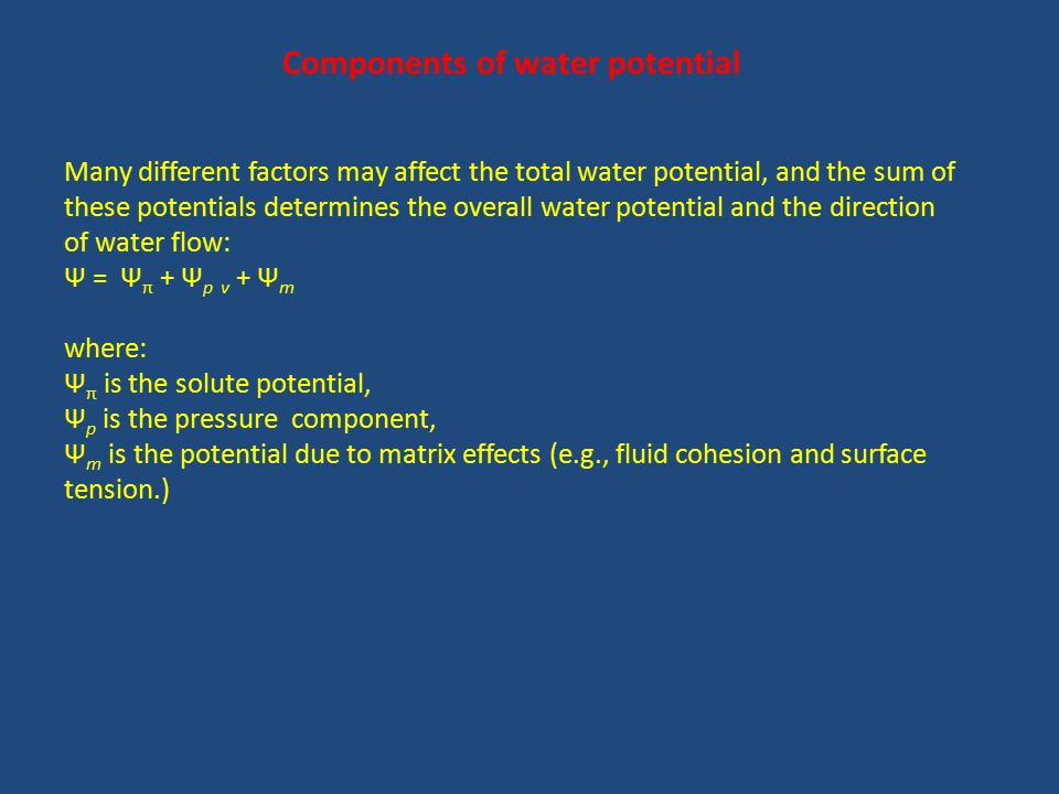 Components of water potential Many different factors may affect the total water potential, and the sum of these potentials determines the overall water potential and the direction of water flow: Ψ = Ψ π + Ψ p v + Ψ m where: Ψ π is the solute potential, Ψ p is the pressure component, Ψ m is the potential due to matrix effects (e.g., fluid cohesion and surface tension.)
