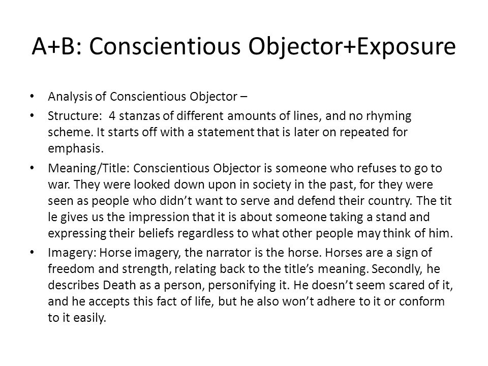 Analysis of Conscientious Objector – Language: very descriptive.