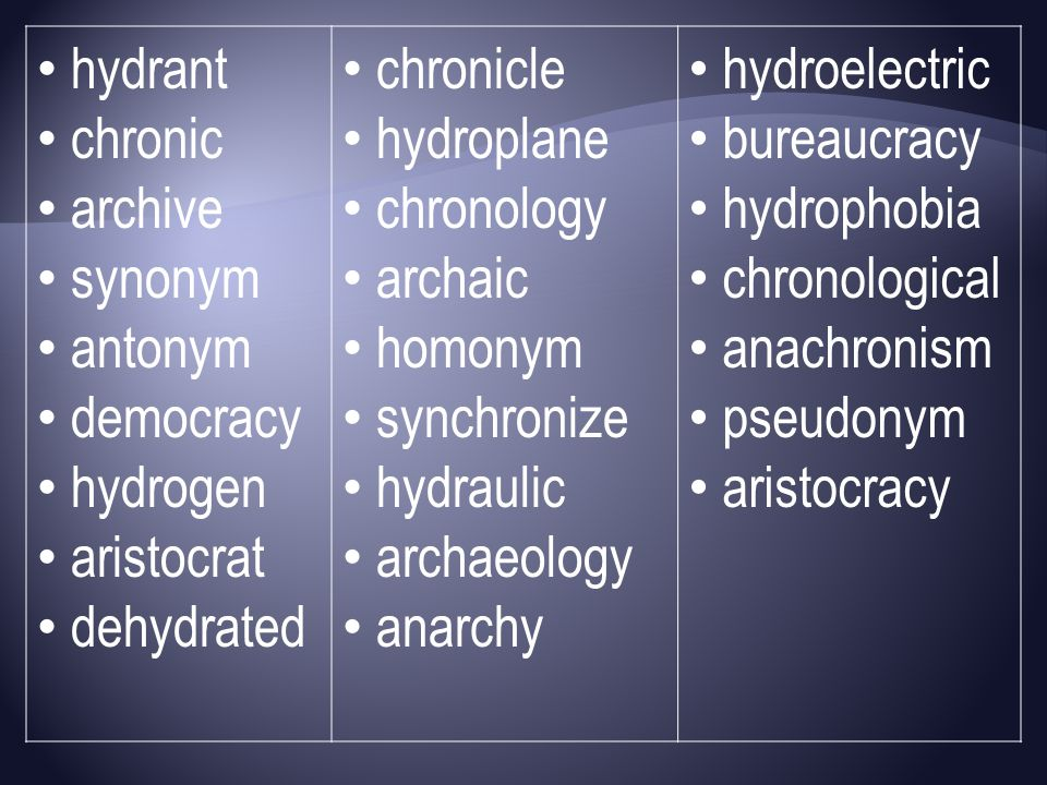 hydrant chronic archive synonym antonym democracy hydrogen aristocrat dehydrated chronicle hydroplane chronology archaic homonym synchronize hydraulic