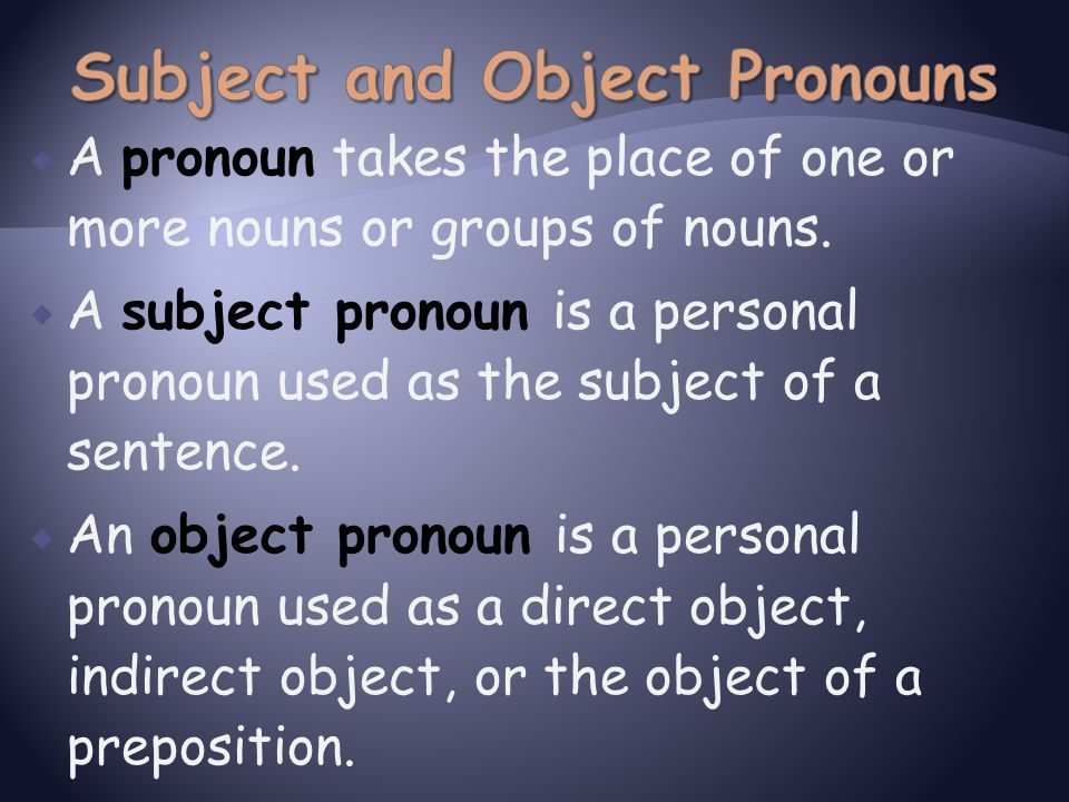  A pronoun takes the place of one or more nouns or groups of nouns.  A subject pronoun is a personal pronoun used as the subject of a sentence.  An