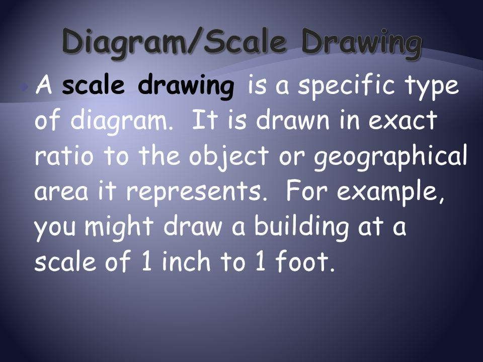  A scale drawing is a specific type of diagram. It is drawn in exact ratio to the object or geographical area it represents. For example, you might d