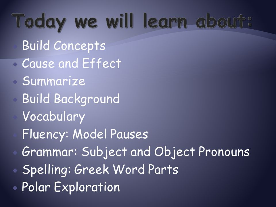  Build Concepts  Cause and Effect  Summarize  Build Background  Vocabulary  Fluency: Model Pauses  Grammar: Subject and Object Pronouns  Spell