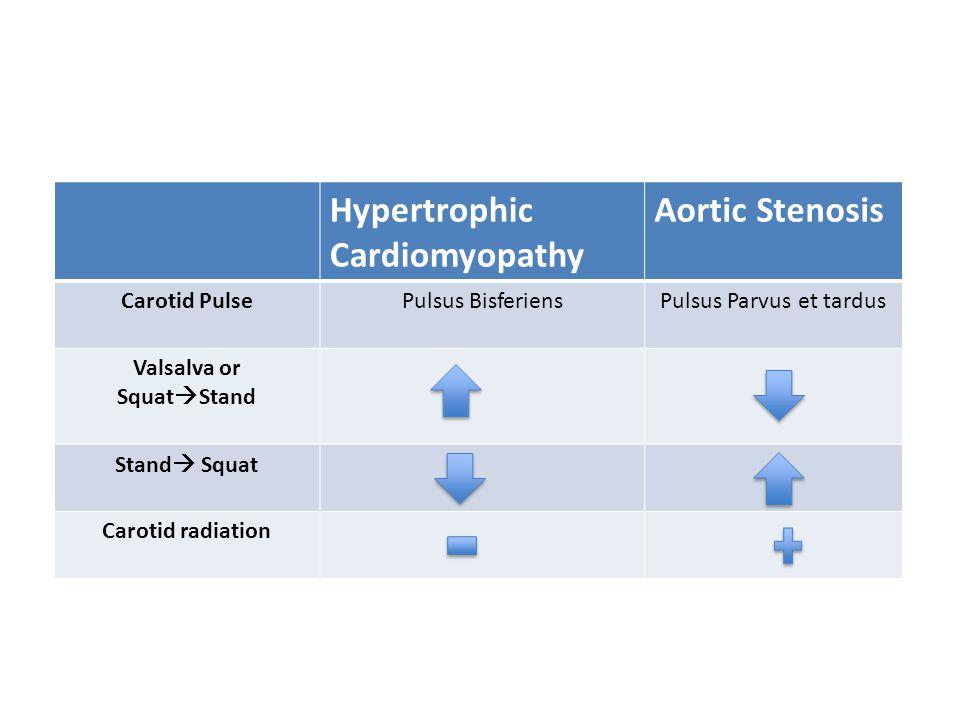 Hypertrophic Cardiomyopathy Aortic Stenosis Carotid PulsePulsus BisferiensPulsus Parvus et tardus Valsalva or Squat  Stand Stand  Squat Carotid radi