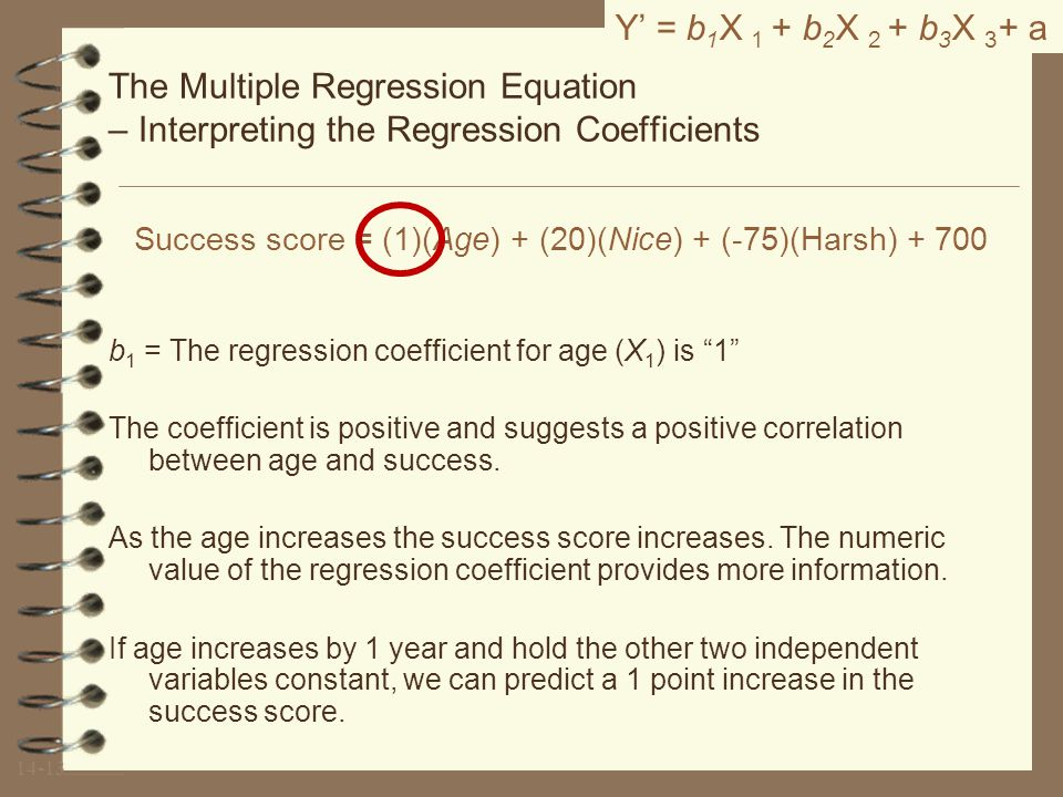 Y' is the dependent variable Success score is your dependent variable.