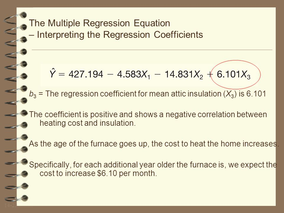 14-22 The Multiple Regression Equation – Interpreting the Regression Coefficients b 2 = The regression coefficient for mean attic insulation (X 2 ) is -14.831.