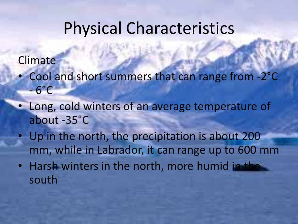 Physical Characteristics Climate Cool and short summers that can range from -2°C - 6°C Long, cold winters of an average temperature of about -35°C Up in the north, the precipitation is about 200 mm, while in Labrador, it can range up to 600 mm Harsh winters in the north, more humid in the south