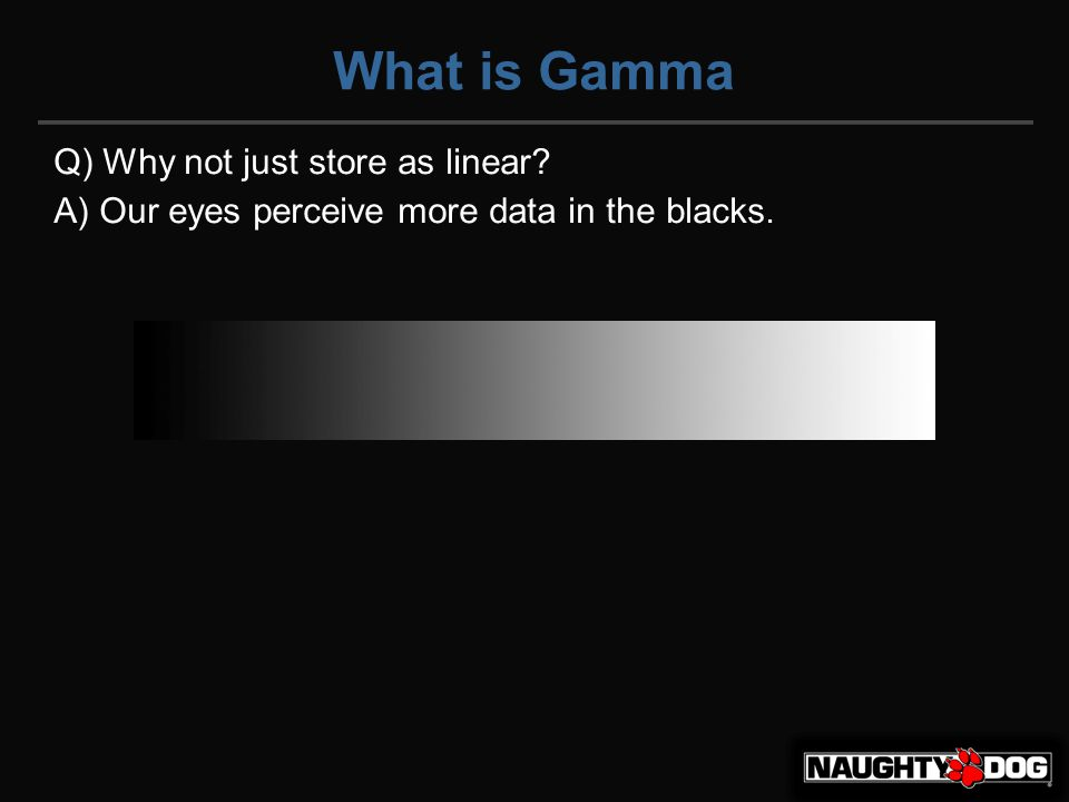 What is Gamma Q) Why not just store as linear A) Our eyes perceive more data in the blacks.