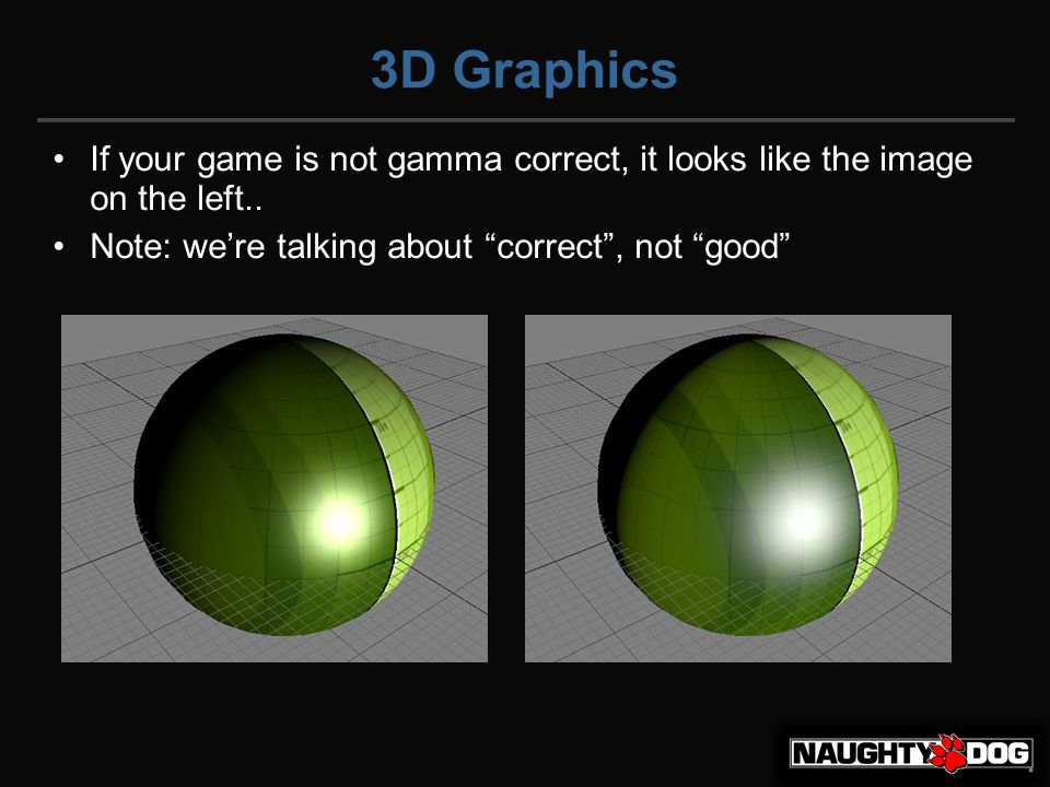 3D Graphics If your game is not gamma correct, it looks like the image on the left..