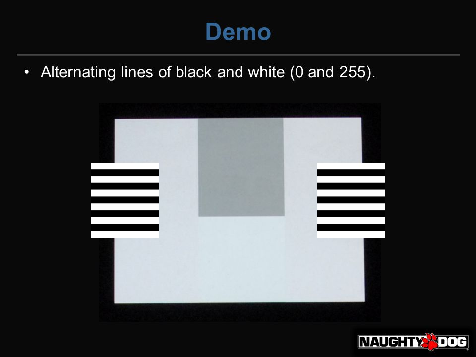 Demo So if the left and right are alternating lines of 0 and 255, then what color is the rectangle with the blue dot?