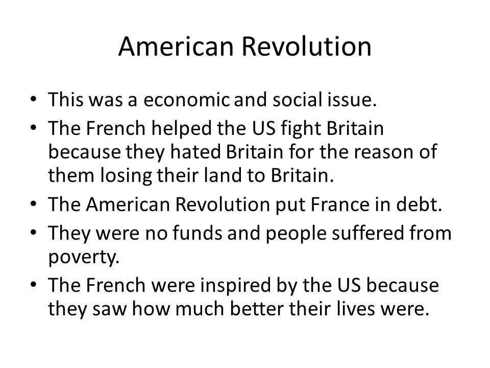 American Revolution This was a economic and social issue.