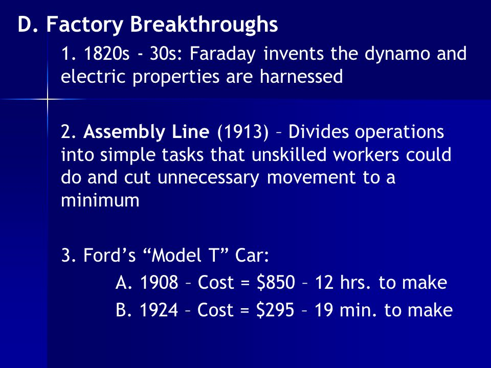 D. Factory Breakthroughs 1.