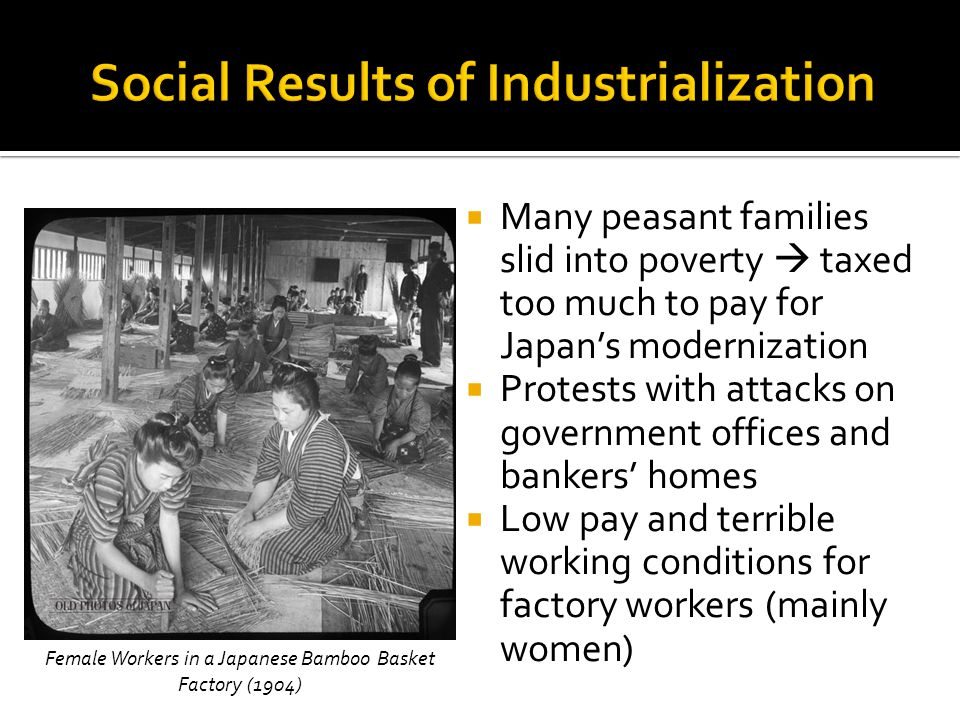  Many peasant families slid into poverty  taxed too much to pay for Japan's modernization  Protests with attacks on government offices and bankers' homes  Low pay and terrible working conditions for factory workers (mainly women) Female Workers in a Japanese Bamboo Basket Factory (1904)