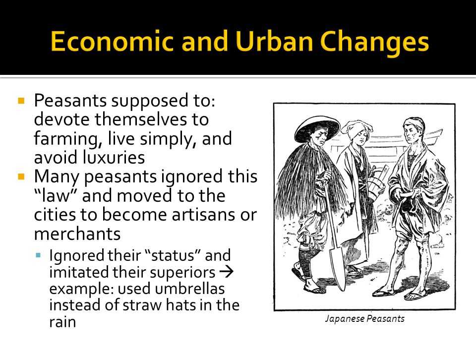  Peasants supposed to: devote themselves to farming, live simply, and avoid luxuries  Many peasants ignored this law and moved to the cities to become artisans or merchants  Ignored their status and imitated their superiors  example: used umbrellas instead of straw hats in the rain Japanese Peasants