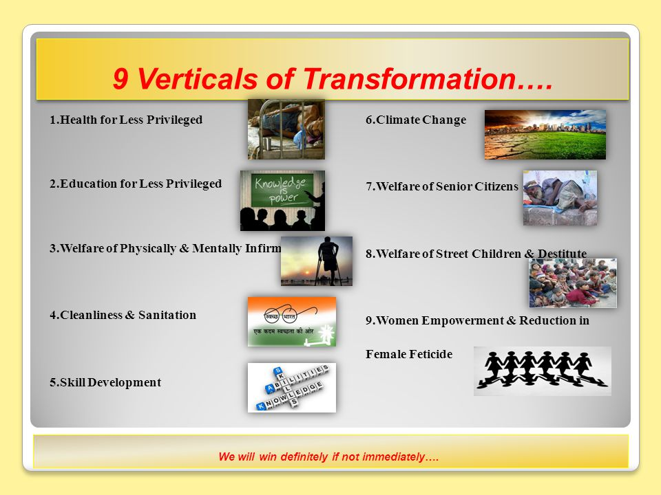 9 People 4 Change: 9 Steps Towards Transformation Our different initiatives….