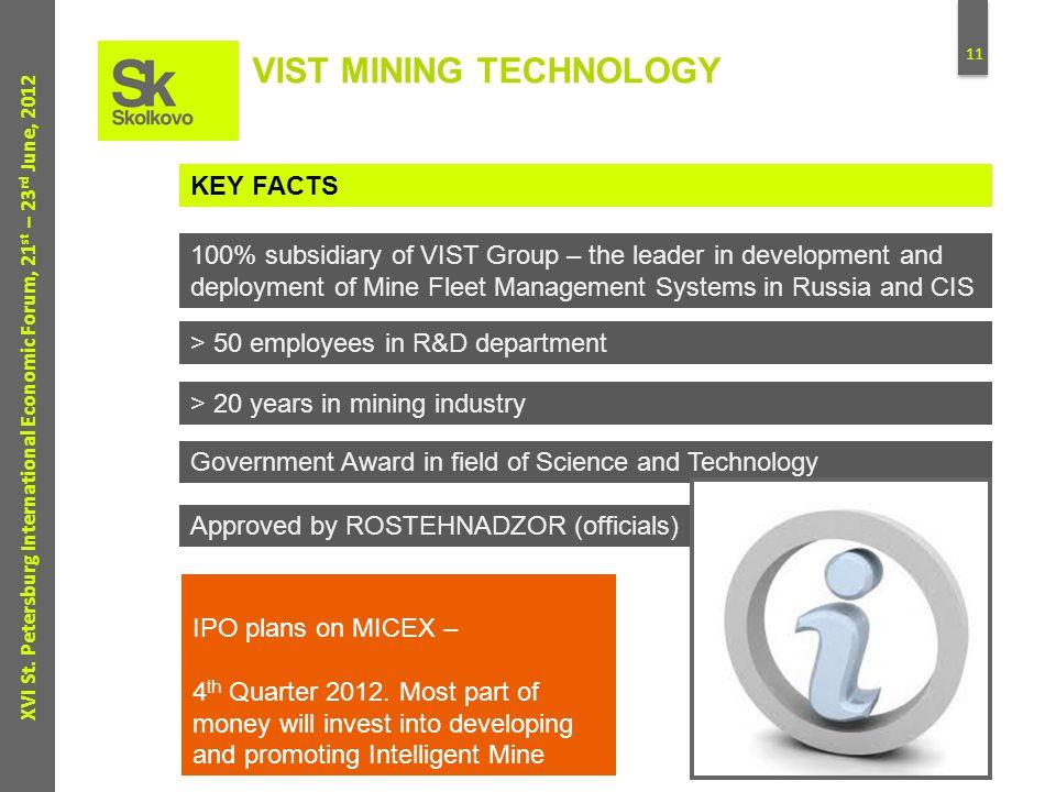 11 XVI St. Petersburg International Economic Forum, 21 st – 23 rd June, 2012 VIST MINING TECHNOLOGY KEY FACTS 100% subsidiary of VIST Group – the lead