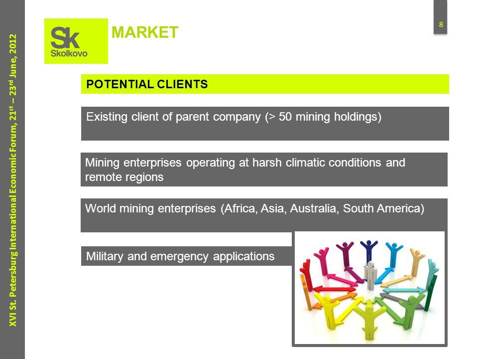8 XVI St. Petersburg International Economic Forum, 21 st – 23 rd June, 2012 MARKET POTENTIAL CLIENTS Existing client of parent company (> 50 mining ho