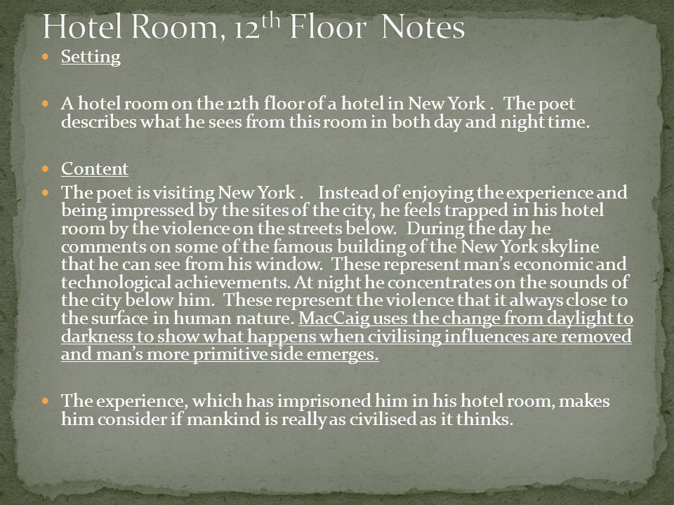 Setting A hotel room on the 12th floor of a hotel in New York.
