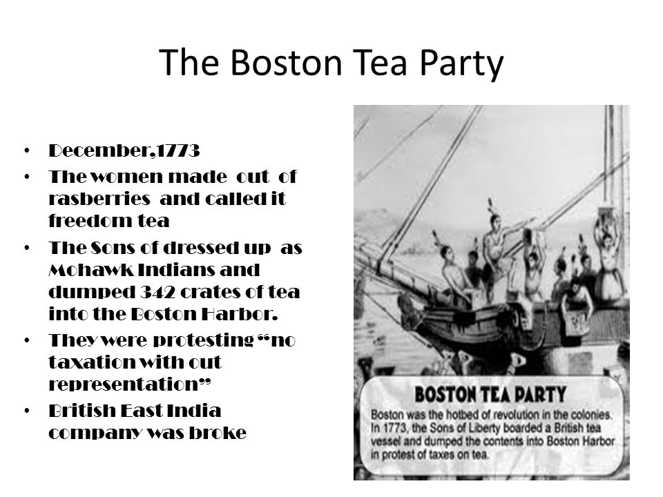 The Intolerable Acts This act occurred in 1773 This event was when parliament passed laws like the Quatering acts, no town meetings without permission and they closed the Boston harbor.