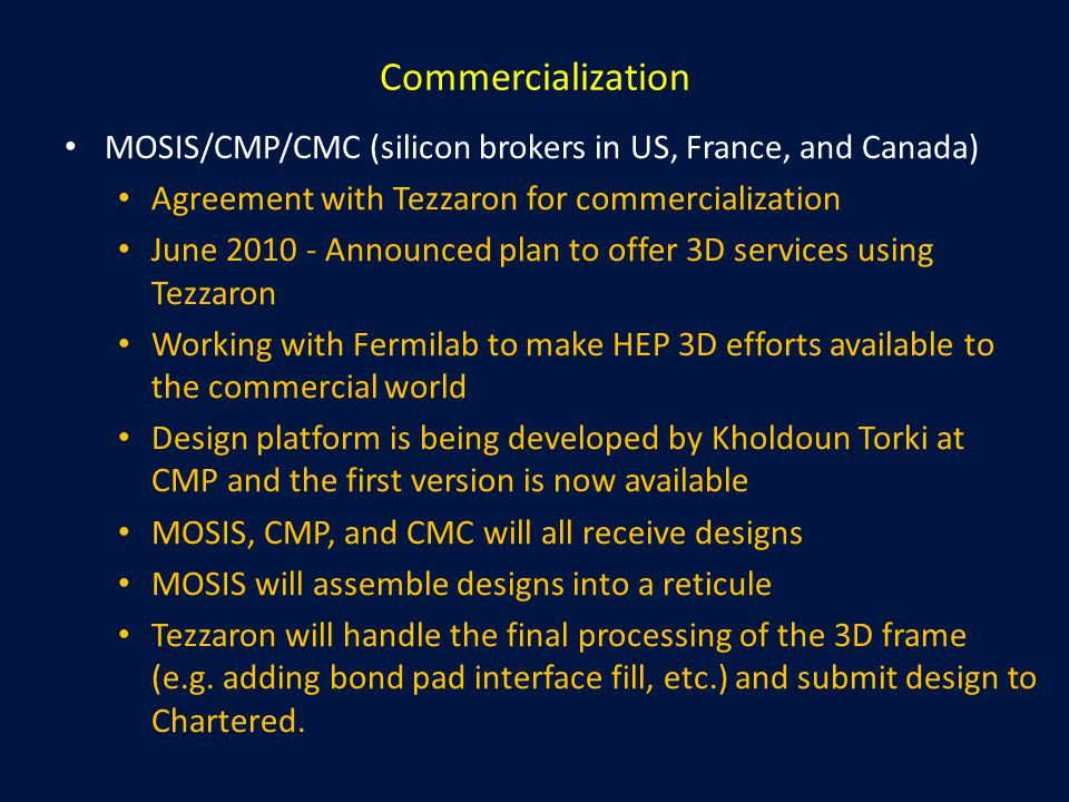 Commercialization MOSIS/CMP/CMC (silicon brokers in US, France, and Canada) Agreement with Tezzaron for commercialization June 2010 - Announced plan t