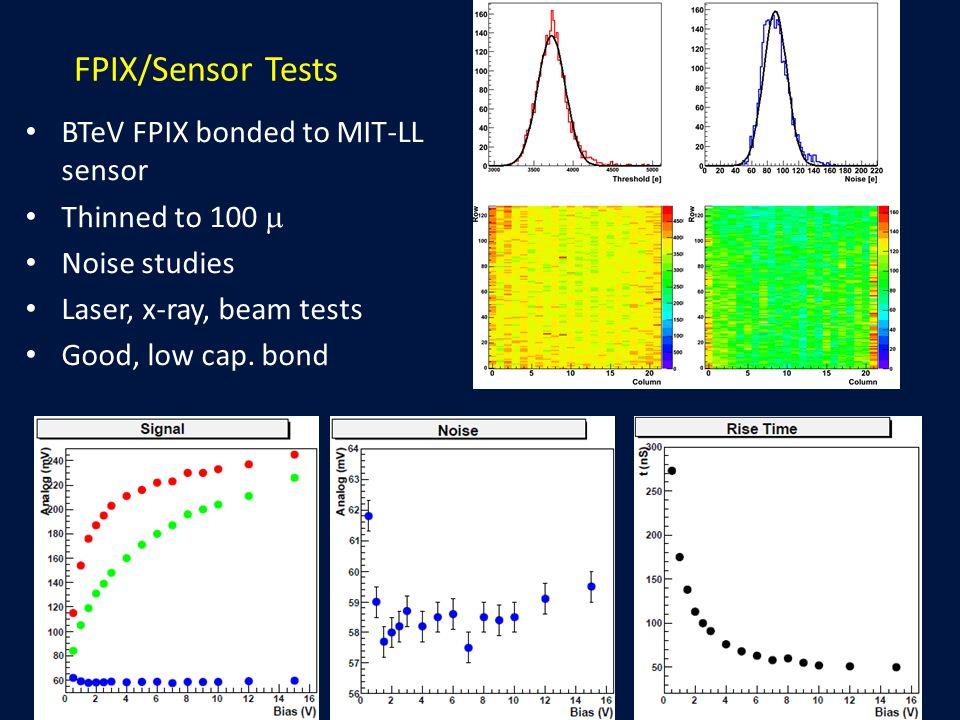 FPIX/Sensor Tests BTeV FPIX bonded to MIT-LL sensor Thinned to 100  Noise studies Laser, x-ray, beam tests Good, low cap. bond