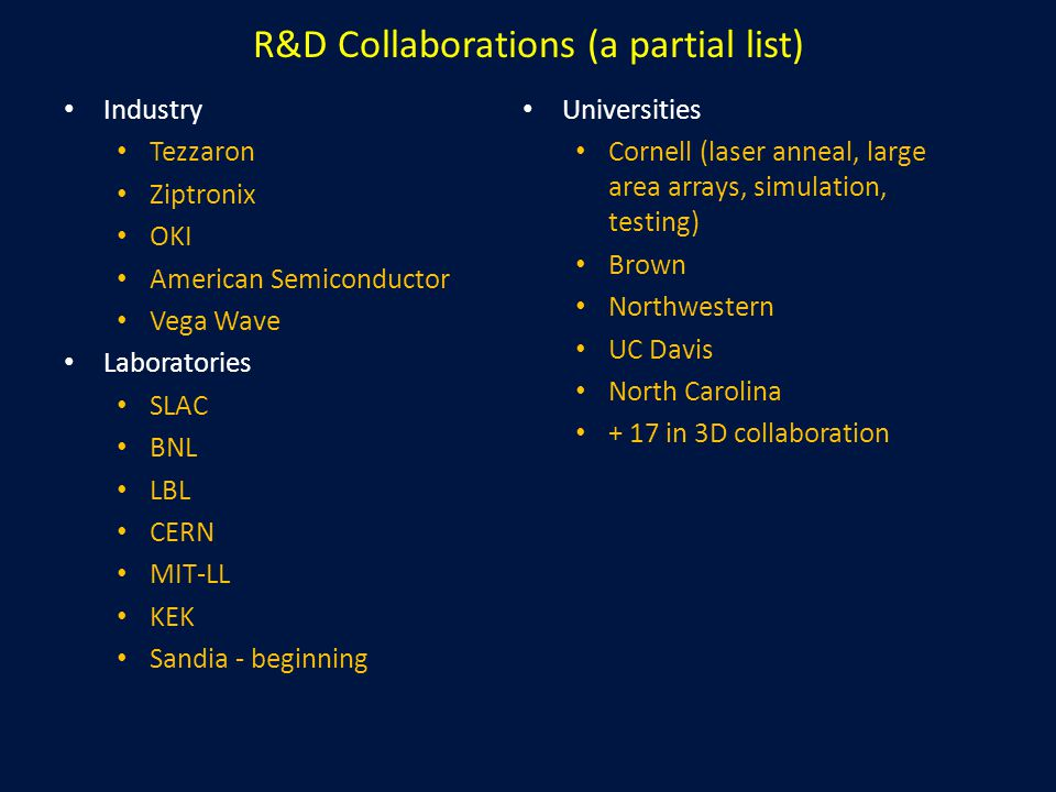 R&D Collaborations (a partial list) Industry Tezzaron Ziptronix OKI American Semiconductor Vega Wave Laboratories SLAC BNL LBL CERN MIT-LL KEK Sandia - beginning Universities Cornell (laser anneal, large area arrays, simulation, testing) Brown Northwestern UC Davis North Carolina + 17 in 3D collaboration