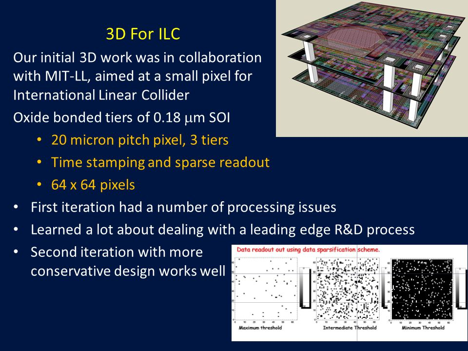 3D For ILC Our initial 3D work was in collaboration with MIT-LL, aimed at a small pixel for International Linear Collider Oxide bonded tiers of 0.18  m SOI 20 micron pitch pixel, 3 tiers Time stamping and sparse readout 64 x 64 pixels First iteration had a number of processing issues Learned a lot about dealing with a leading edge R&D process Second iteration with more conservative design works well
