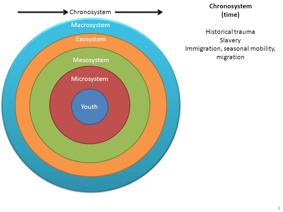 Macrosystem Exosystem MesosystemMicrosystem Youth Chronosystem (time) Historical trauma Slavery Immigration, seasonal mobility, migration 8