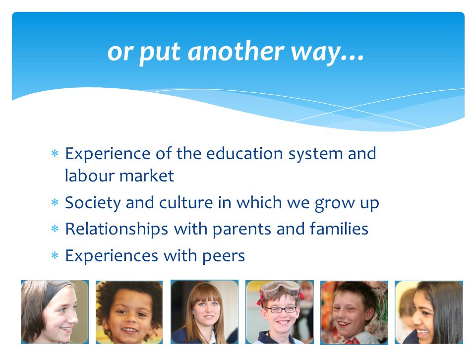  Experience of the education system and labour market  Society and culture in which we grow up  Relationships with parents and families  Experiences with peers and in leisure time or put another way…