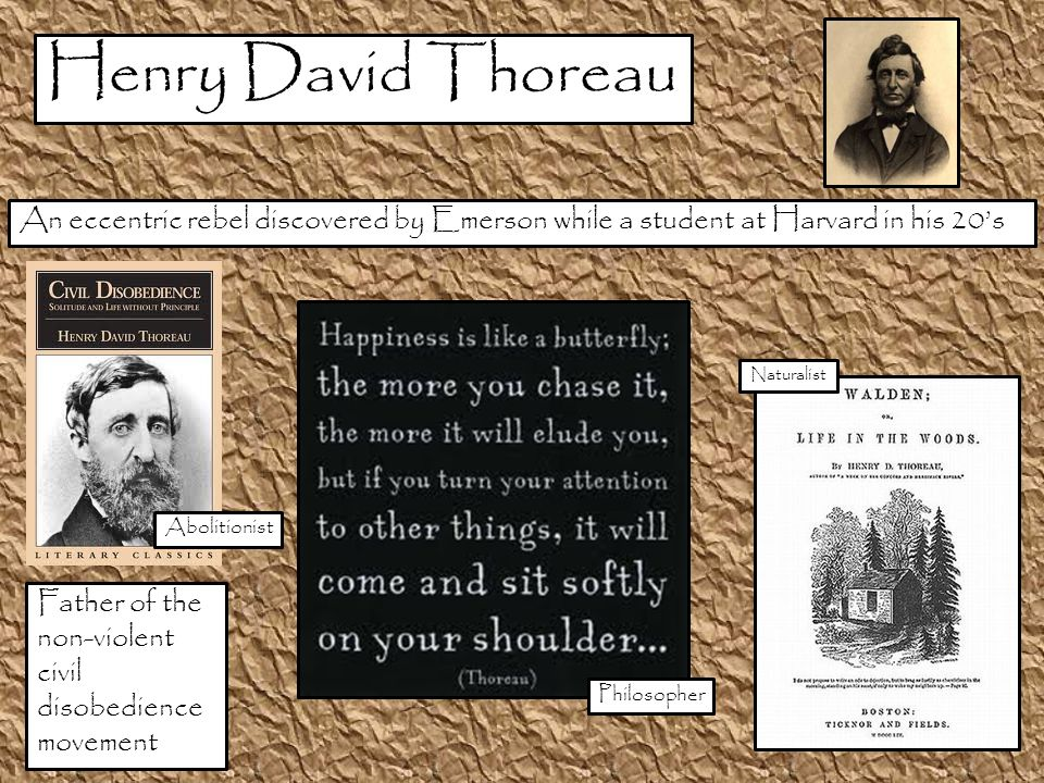 An eccentric rebel discovered by Emerson while a student at Harvard in his 20's Father of the non-violent civil disobedience movement Philosopher Abolitionist Naturalist Henry David Thoreau