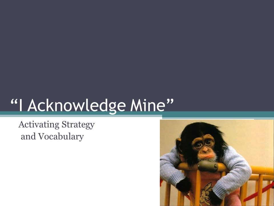 """I Acknowledge Mine"" Activating Strategy and Vocabulary"