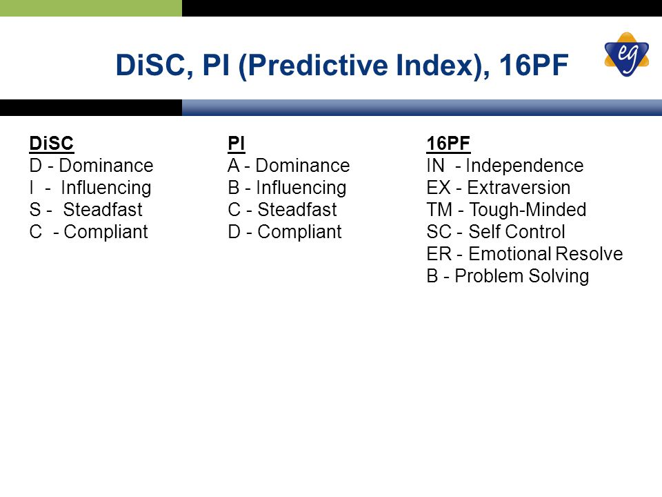 DiSC, PI (Predictive Index), 16PF DiSC PI 16PF D - DominanceA - Dominance IN - Independence I - InfluencingB - Influencing EX - Extraversion S - SteadfastC - Steadfast TM - Tough-Minded C - CompliantD - Compliant SC - Self Control ER - Emotional Resolve B - Problem Solving