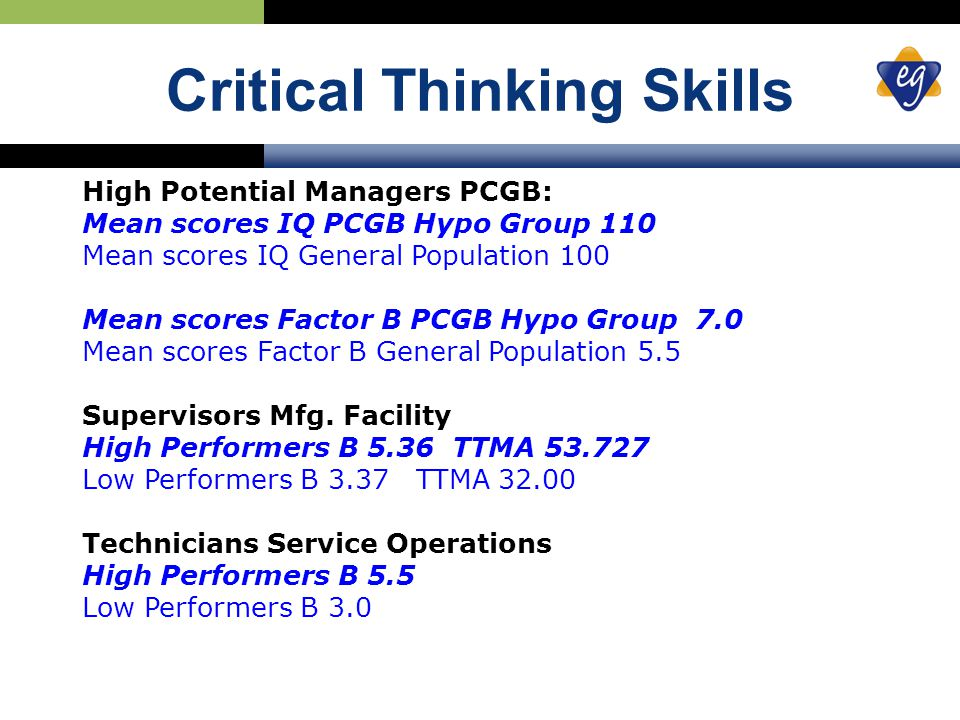 Critical Thinking Skills High Potential Managers PCGB: Mean scores IQ PCGB Hypo Group 110 Mean scores IQ General Population 100 Mean scores Factor B PCGB Hypo Group 7.0 Mean scores Factor B General Population 5.5 Supervisors Mfg.
