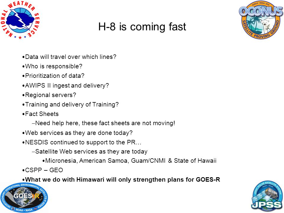 H-8 is coming fast Data will travel over which lines.