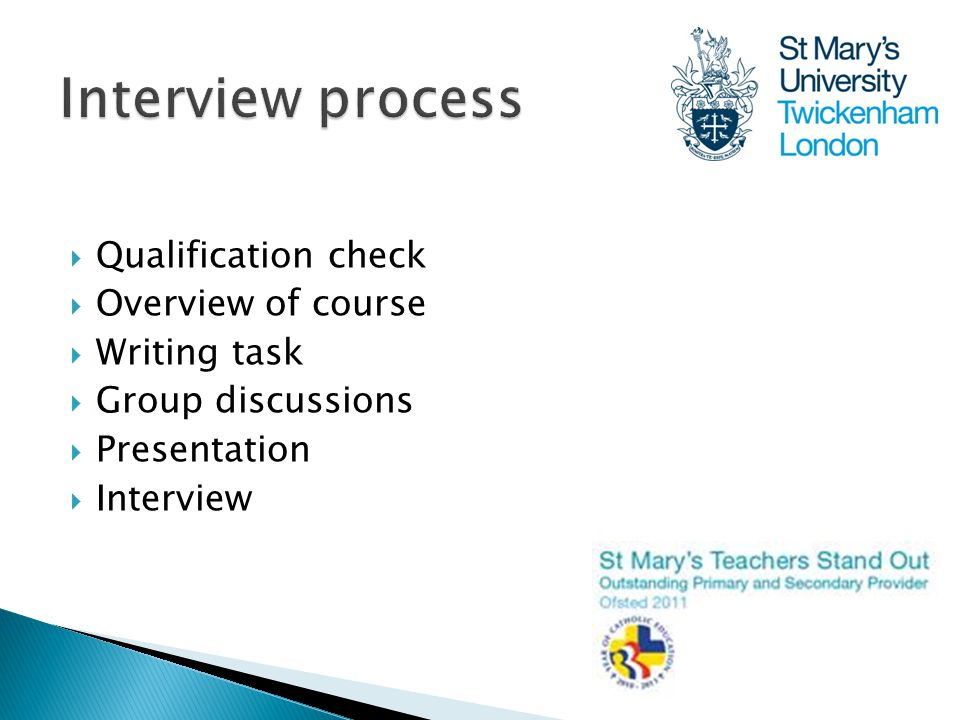  Qualification check  Overview of course  Writing task  Group discussions  Presentation  Interview