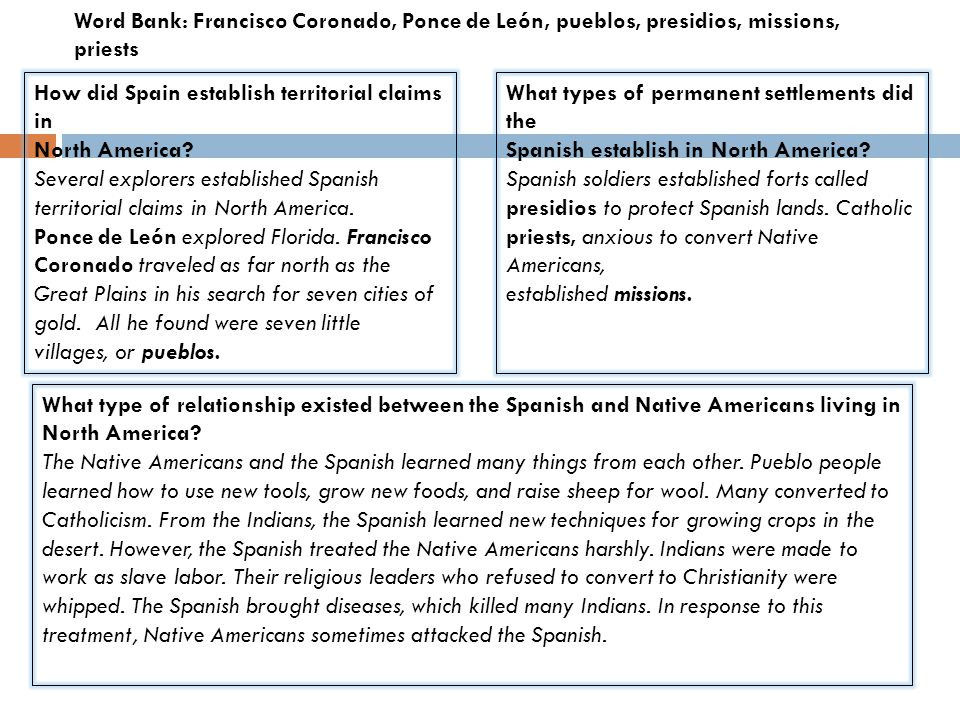 What type of relationship existed between the Spanish and Native Americans living in North America? The Native Americans and the Spanish learned many