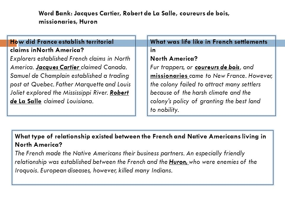 What type of relationship existed between the French and Native Americans living in North America? The French made the Native Americans their business