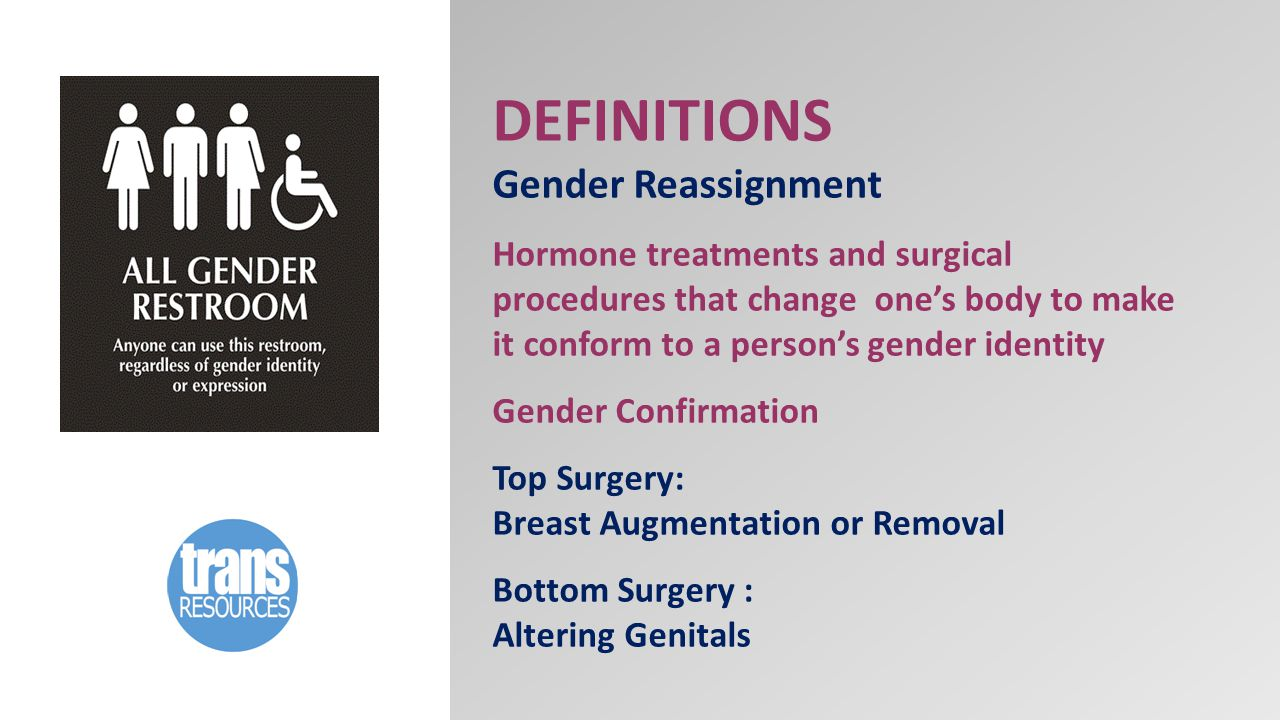 DEFINITIONS Gender Reassignment Hormone treatments and surgical procedures that change one's body to make it conform to a person's gender identity Gender Confirmation Top Surgery: Breast Augmentation or Removal Bottom Surgery : Altering Genitals