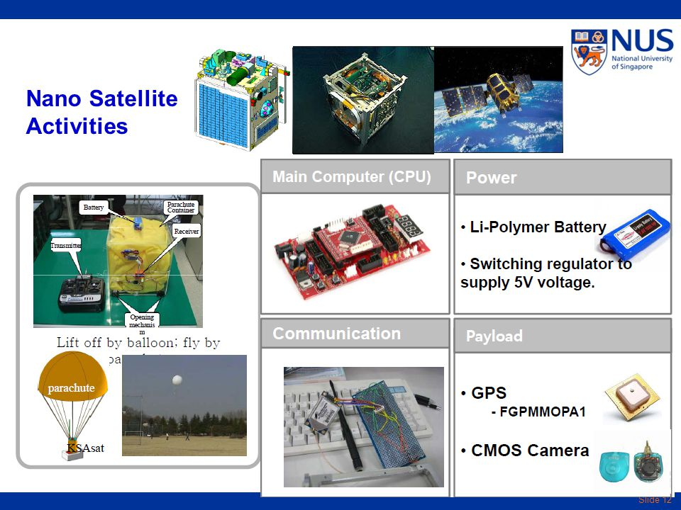 Slide 12 Nano Satellite Activities