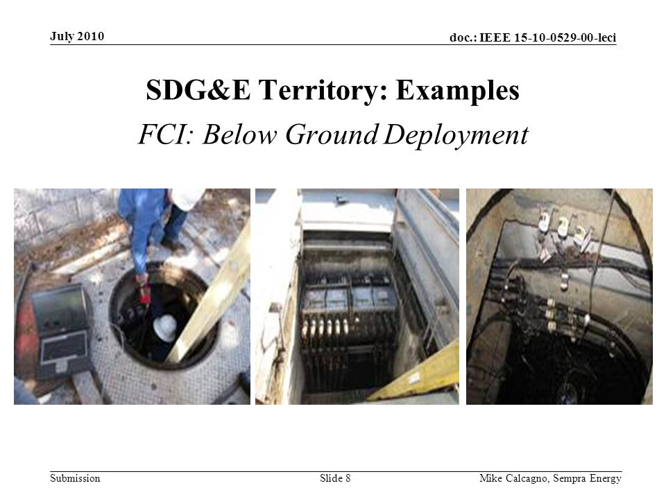 doc.: IEEE 15-10-0529-00-leci Submission SDG&E Territory: Examples July 2010 Mike Calcagno, Sempra EnergySlide 8 FCI: Below Ground Deployment