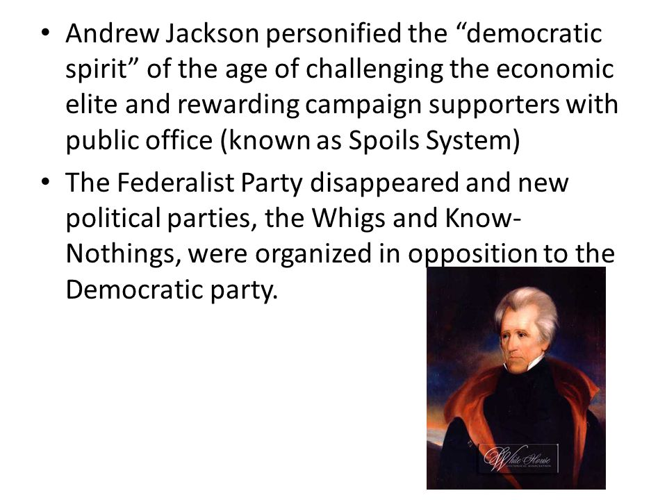 """Andrew Jackson personified the """"democratic spirit"""" of the age of challenging the economic elite and rewarding campaign supporters with public office ("""