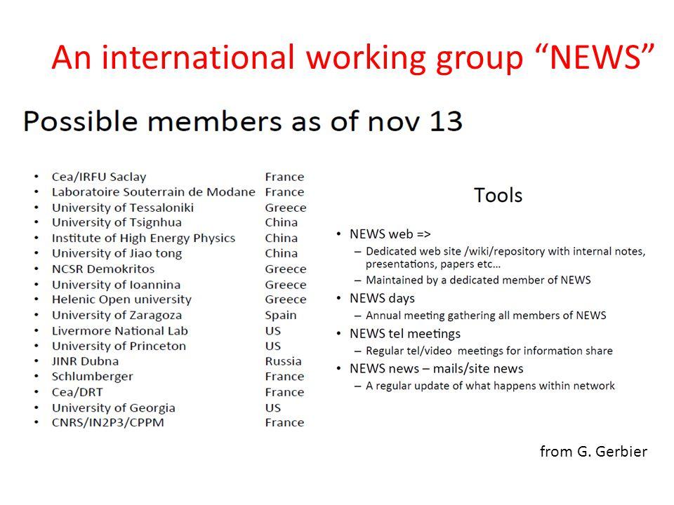 """An international working group """"NEWS"""" from G. Gerbier"""