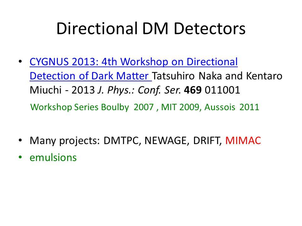 Directional DM Detectors CYGNUS 2013: 4th Workshop on Directional Detection of Dark Matter Tatsuhiro Naka and Kentaro Miuchi - 2013 J. Phys.: Conf. Se
