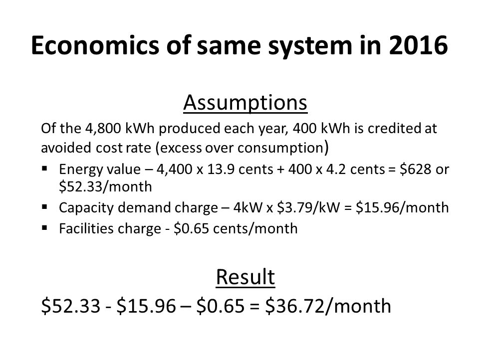 Economics of same system in 2016 Assumptions Of the 4,800 kWh produced each year, 400 kWh is credited at avoided cost rate (excess over consumption )  Energy value – 4,400 x 13.9 cents + 400 x 4.2 cents = $628 or $52.33/month  Capacity demand charge – 4kW x $3.79/kW = $15.96/month  Facilities charge - $0.65 cents/month Result $52.33 - $15.96 – $0.65 = $36.72/month