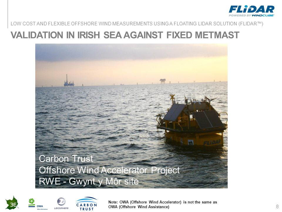 LOW COST AND FLEXIBLE OFFSHORE WIND MEASUREMENTS USING A FLOATING LIDAR SOLUTION (FLIDAR™) VALIDATION IN IRISH SEA AGAINST FIXED METMAST 8 Carbon Trus
