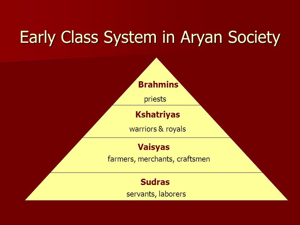 Early Class System in Aryan Society Brahmins Kshatriyas Vaisyas Sudras priests warriors & royals farmers, merchants, craftsmen servants, laborers