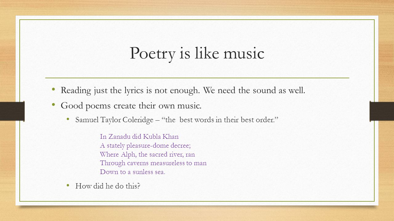 Poetry Terms I Repetition – the use of the same word or words more than once in a line or group of lines.