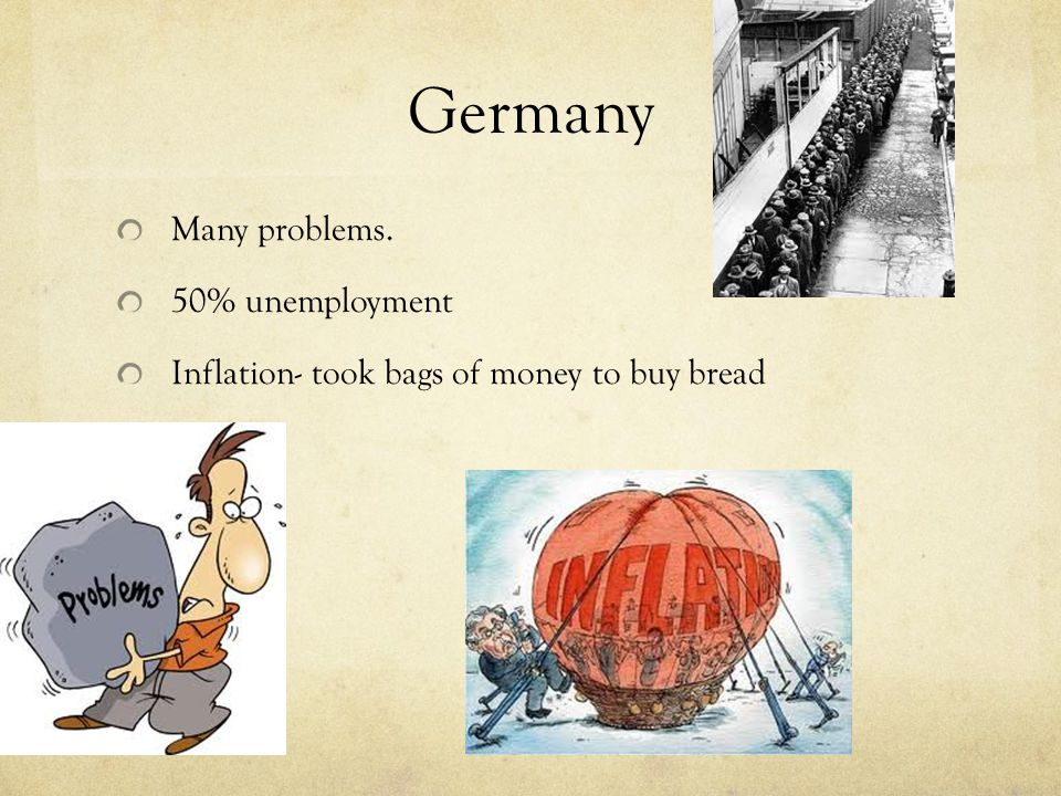 Germany Many problems. 50% unemployment Inflation- took bags of money to buy bread