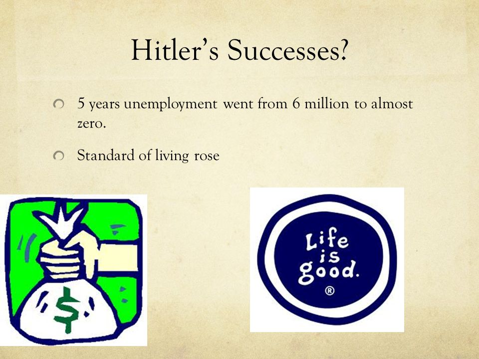 Hitler's Successes.5 years unemployment went from 6 million to almost zero.