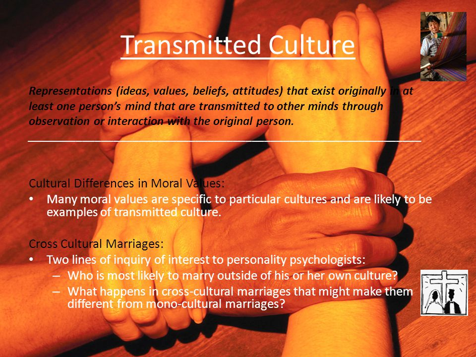 Transmitted Culture Representations (ideas, values, beliefs, attitudes) that exist originally in at least one person's mind that are transmitted to ot